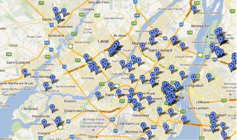 Portrait des infrastructures de recharge de la région de Montréal