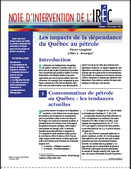 Note d'intervention IREQ - Institut de recherche en économie contemporaine