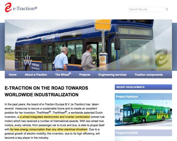 Site WEB fabricant moteur-roue autobus e-Traction