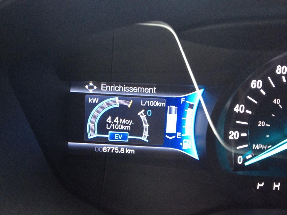 Il semble assez facile de faire sous les 5 L/100km sur l'autoroute. Aussi, j'aime bien ce tableau de bord car il montre clairment la puissance disponible en mode électrique (à gauche).