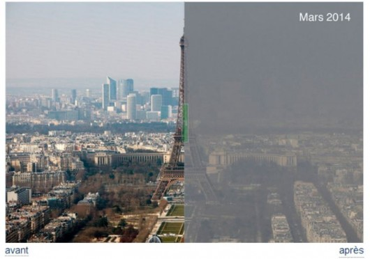 Photo montrant la tour Eiffel dans une nappe de pollution