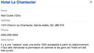 L'information de Plugshare sur la borne de l'Hôtel Chanteclerc. Rien de rassurant.