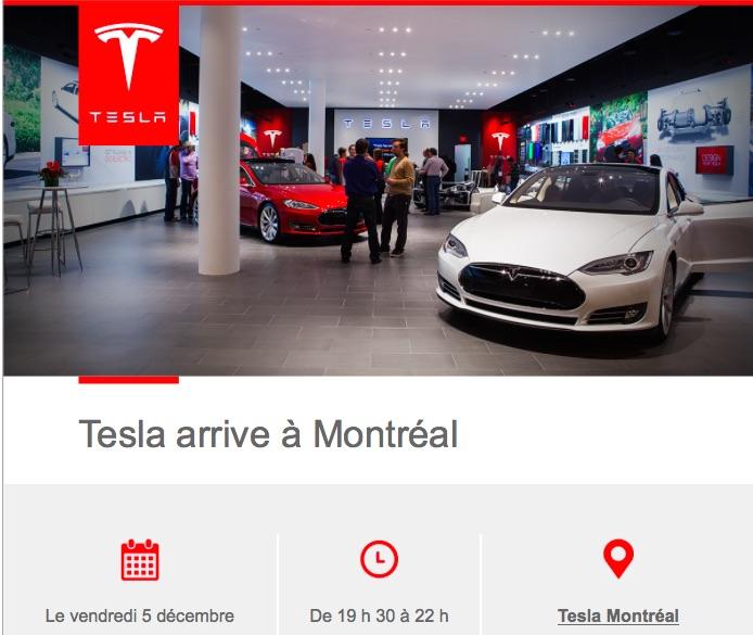 Tesla Motors à MONTRÉAL : ouverture officielle le 5 décembre 2014!