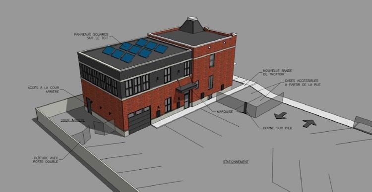 Rendition 3D préliminaire de la station Roulez Électrique avec le Garage / Centre de Développement ainsi que le Centre d'affaires au 2e étage. En plus du stationnement à l'intérieur, on y retrouve 8 stationnements dédié aux voitures électrique!