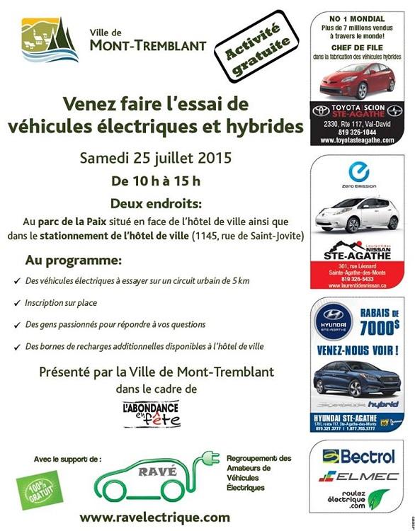 Ce samedi 25 juillet à Mont-Tremblant : essai de véhicules électriques