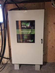 Borne rapide Elmec, installée à l'intérieur dans la salle électrique.