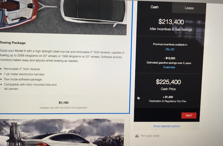 Le prix Canadien d'un Model X ... tout équipé!