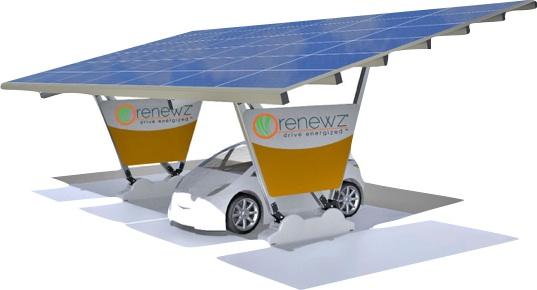 Un abri d'auto renewz avec panneaux solaires bientôt à la Station Roulez Électrique