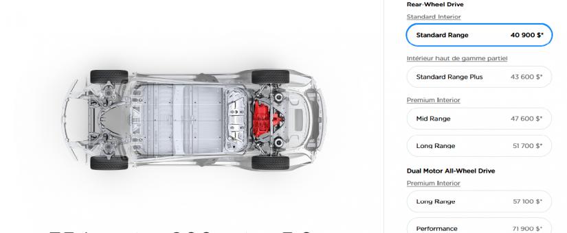 Tesla met sur le marché la modèle 3 la moins chère !