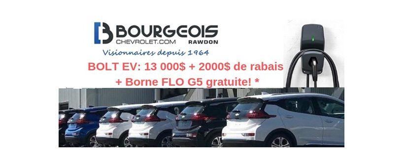 Jusqu'à 15 000$ de rabais sur des Bolt Démo + Flo G5 gratuite chez Bourgeois Chevrolet !