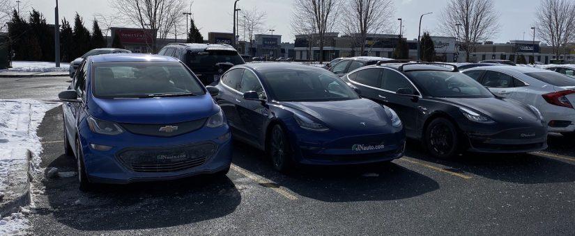 RÉSULTATS DU MATCH COMPARATIF Montréal-Québec-Montréal en Bolt, Tesla 3 SR et Tesla 3 AWD LR
