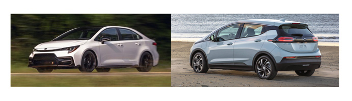 Comparaison de coûts : Bolt EV 2022 VS Corolla L CVT 2021